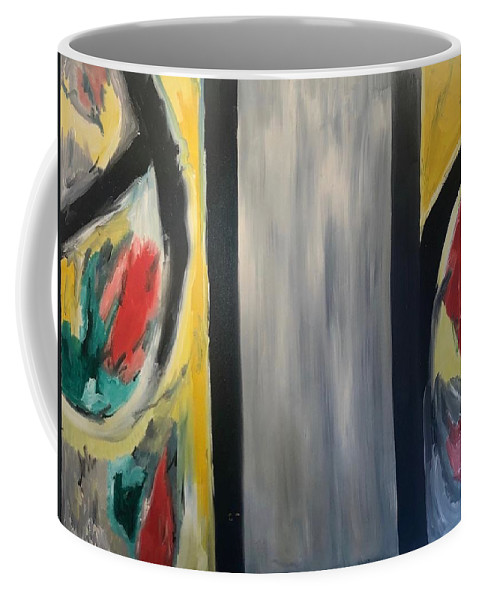 Abstract Coffee Mug featuring the mixed media Two worlds by Biagio Civale