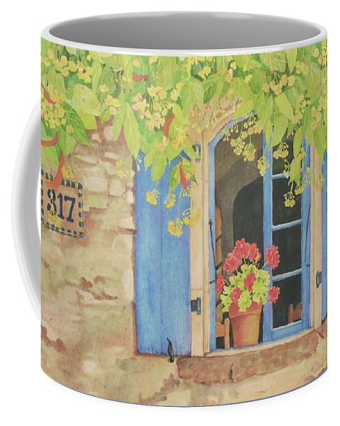 France Coffee Mug featuring the painting Vacation Memory by Mary Ellen Mueller Legault
