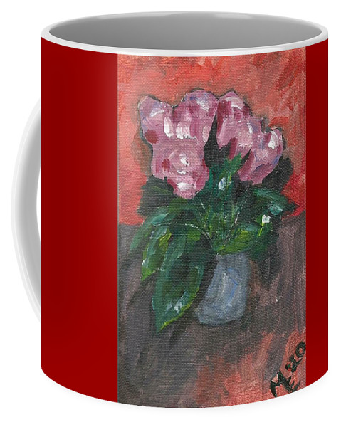 Rose Coffee Mug featuring the painting Vase of Roses by Monica Resinger