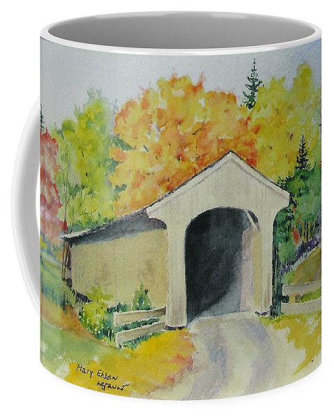 Landscape Coffee Mug featuring the painting Vermont Covered Bridge by Mary Ellen Mueller Legault