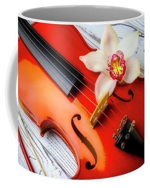 Violin Coffee Mug featuring the photograph Violin And Lovely White Orchid by Garry Gay
