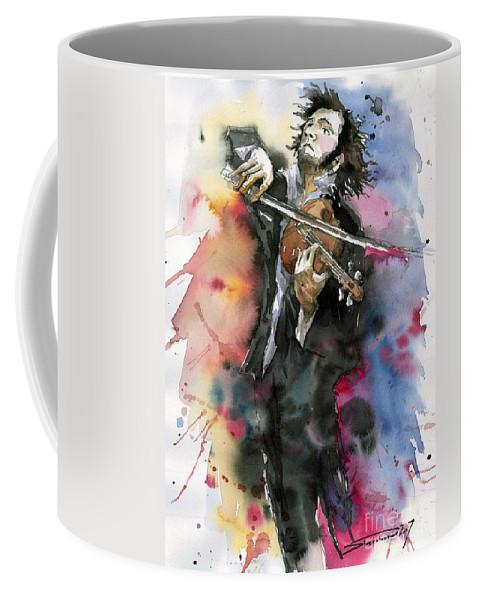 Music Coffee Mug featuring the painting Violine player. by Yuriy Shevchuk