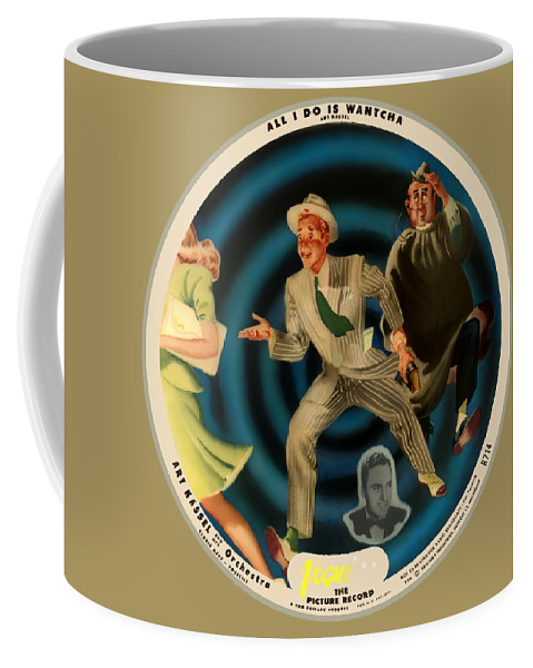 Vogue Picture Record Coffee Mug featuring the digital art Vogue Record Art - R 714 - P 22, Yellow Logo - Square Version by John Robert Beck