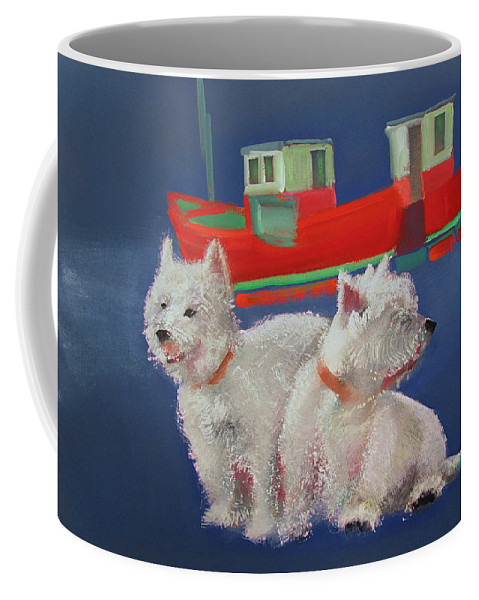 White Terriers Coffee Mug featuring the painting Walberswick Red Trawlers by Charles Stuart