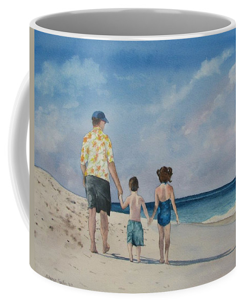 Landscape Coffee Mug featuring the painting Walk on the Beach by Sharon Farber