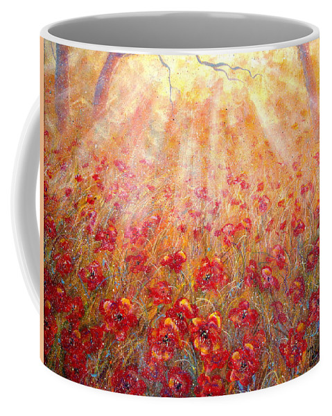 Landscape Coffee Mug featuring the painting Warm Sun Rays by Natalie Holland