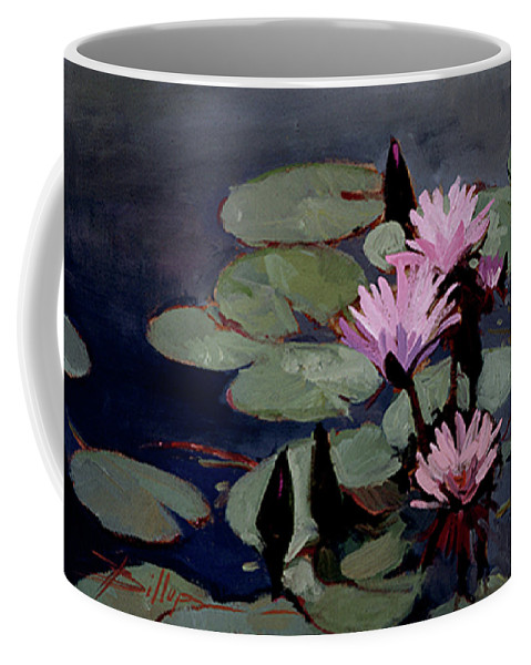 Water Lily Paintings Coffee Mug featuring the painting Water Trio - Water Lilies by Betty Jean Billups
