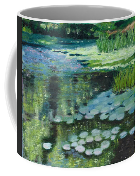 Millpond Water Reflections Coffee Mug featuring the painting Waterlillies on the Mill Pond by Paula Emery