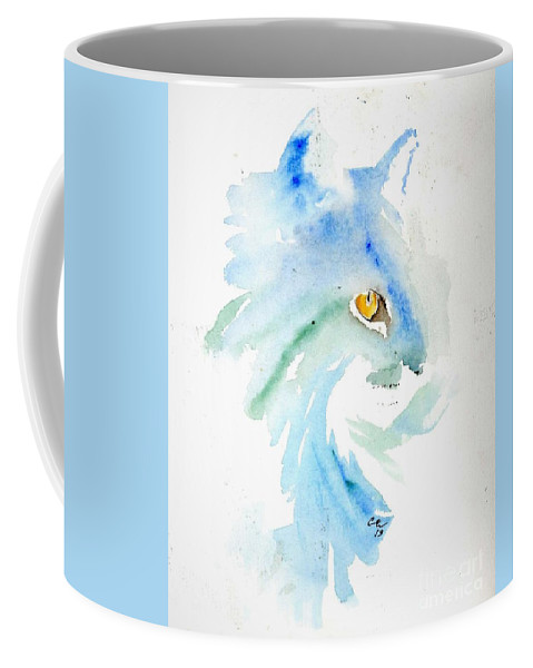 White Cat Coffee Mug featuring the painting White Cat by Cher Clemans