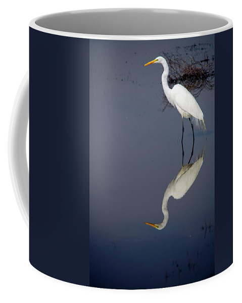 Bird Coffee Mug featuring the photograph White Egret Reflection by Frank Wilson
