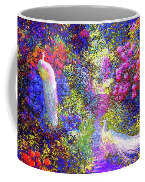 Landscape Coffee Mug featuring the painting White Peacocks, Pure Bliss by Jane Small