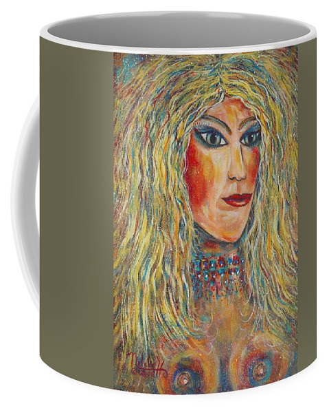 Nude Coffee Mug featuring the painting Wild Jungle Woman by Natalie Holland