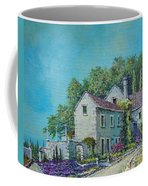 Original Painting Coffee Mug featuring the painting Village Vista by Sinisa Saratlic