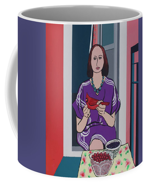 Bird Coffee Mug featuring the painting Woman, Bird, and Berries - A Tribute to Henri Matisse by Rollin Kocsis