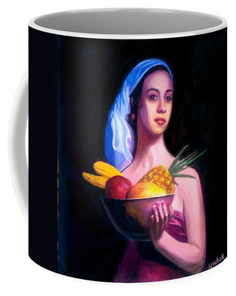 Women Coffee Mug featuring the painting Women With Fruits by Jose Manuel Abraham