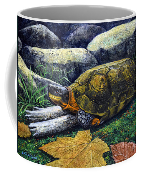 Turtles Coffee Mug featuring the painting Wood Turtle by Frank Wilson