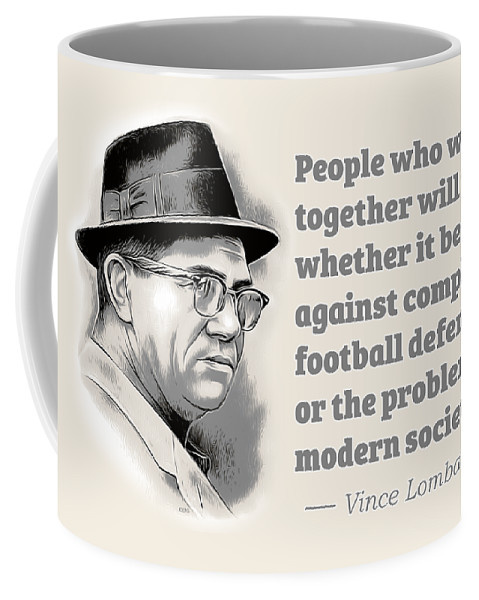 Vince Lombardi Coffee Mug featuring the digital art Working Together by Greg Joens