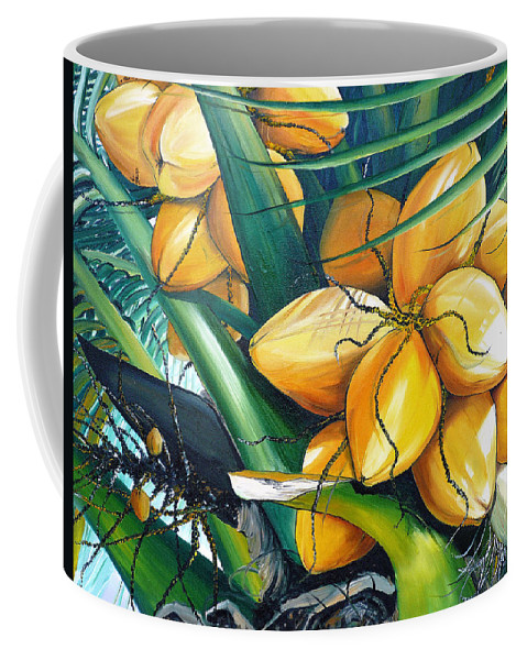 Coconut Painting Botanical Painting  Tropical Painting Caribbean Painting Original Painting Of Yellow Coconuts On The Palm Tree Coffee Mug featuring the painting Yellow Coconuts by Karin Dawn Kelshall- Best