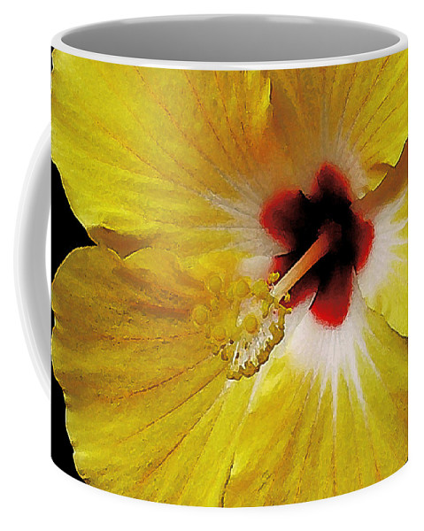 Hawaii Iphone Cases Coffee Mug featuring the photograph Yellow Hibiscus With Red Center by James Temple