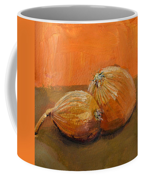 Agriculture Coffee Mug featuring the painting Yellow Onions Still Life by Michelle Calkins
