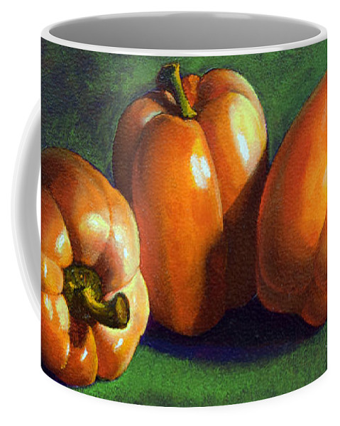 Yellow Peppers Coffee Mug featuring the painting Yellow Peppers by Frank Wilson
