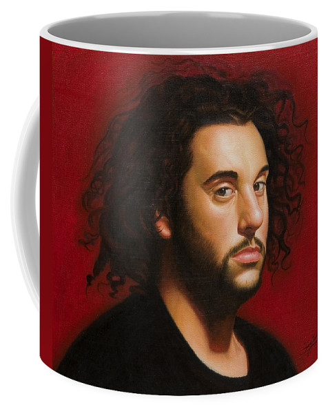 Portrait Of A Young Man Coffee Mug featuring the painting Young Man in Black by Gary Hernandez
