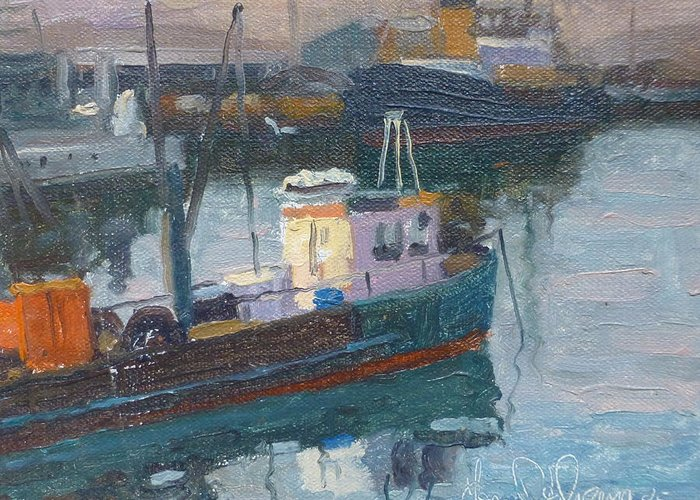 Harbours Greeting Card featuring the painting             Lyttleton Nz by Terry Perham
