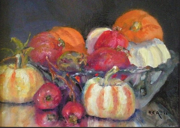 Still-lifein Oil; Ceramic Bowl With Mini Pumpkins With A Group Of Local Zander Pomogranates... Greeting Card featuring the painting     Pumpkins And Pomogranates' by Bryan Alexander