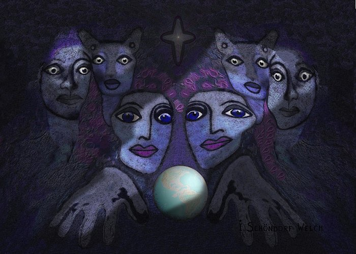 Face Greeting Card featuring the digital art  062 - Demons B by Irmgard Schoendorf Welch