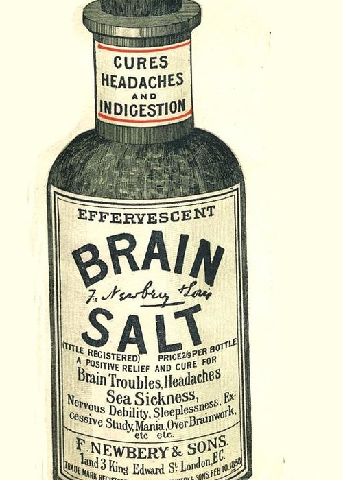 1890�s Greeting Card featuring the drawing 1890s Uk Brain Salt Headaches Humour by The Advertising Archives