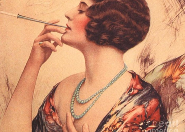 1920�s Greeting Card featuring the drawing 1920s Usa Women Cigarettes Holders by The Advertising Archives