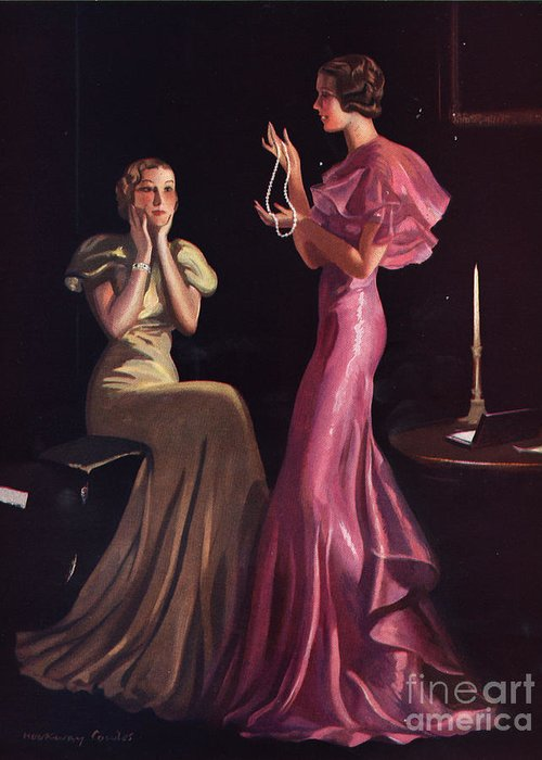 1930 s Greeting Card featuring the drawing 1930s Uk Womens Evening Gowns  Dresses by The e2d225d82