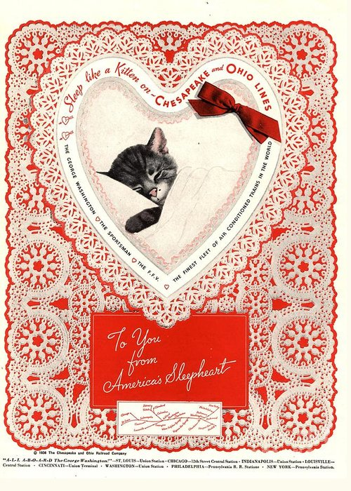1930�s Greeting Card featuring the drawing 1934 1930s Usa Cats Trains Railroads by The Advertising Archives
