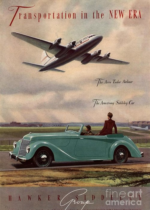 1940�s Greeting Card featuring the drawing 1940s Uk Aviation Hawker Siddeley Cars by The Advertising Archives