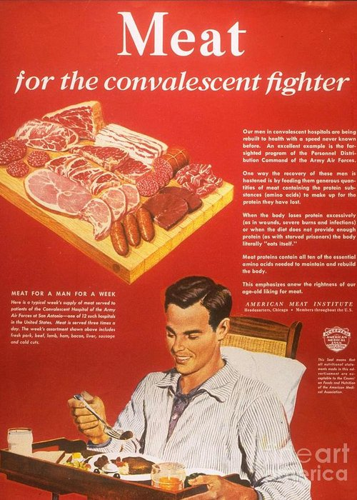 1940�s Greeting Card featuring the drawing 1940s Usa Convalescents Meat Eating by The Advertising Archives