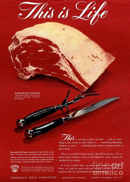 1940�s Greeting Card featuring the drawing 1940s Usa Meat by The Advertising Archives