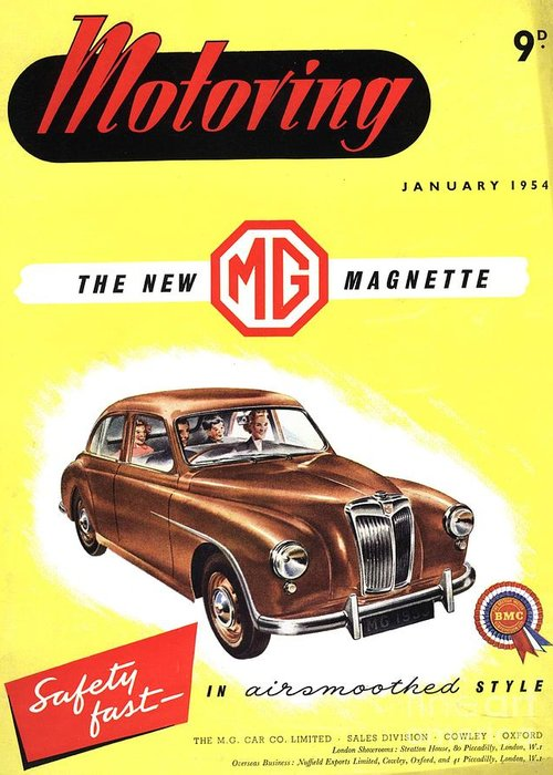1950�s Greeting Card featuring the drawing 1950s Uk Cars Mg Magnette Covers by The Advertising Archives