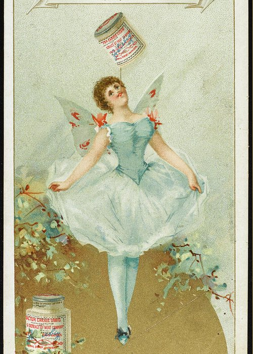 Ballerina Greeting Card featuring the drawing A Ballerina Balances A Liebig by Mary Evans Picture Library