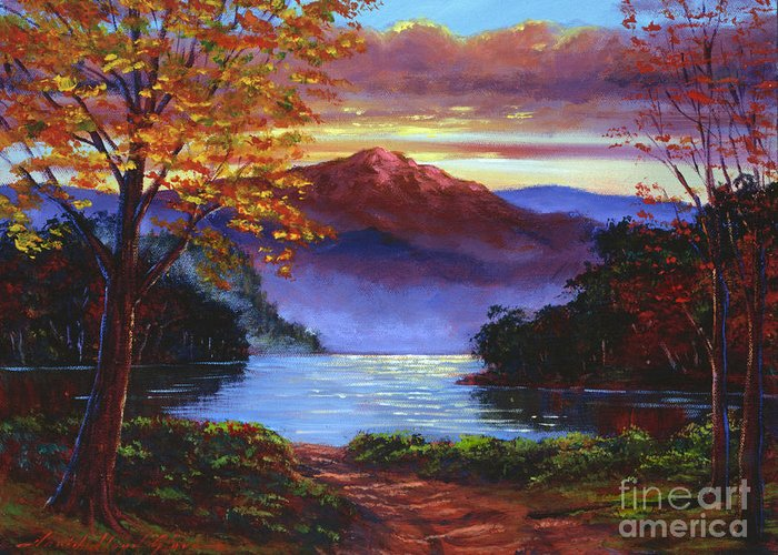 Landscape Greeting Card featuring the painting A Moment Of Softness by David Lloyd Glover