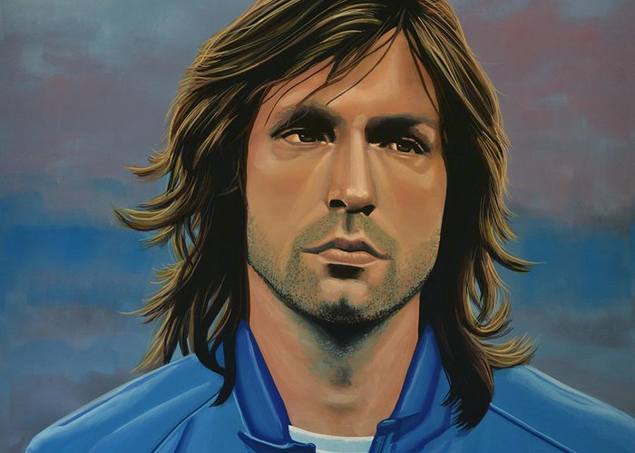 Andrea Pirlo Greeting Card featuring the painting Andrea Pirlo by Paul Meijering