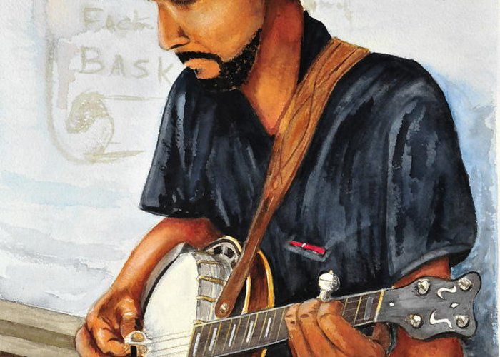 Banjo Greeting Card featuring the painting Banjo Player by John W Walker