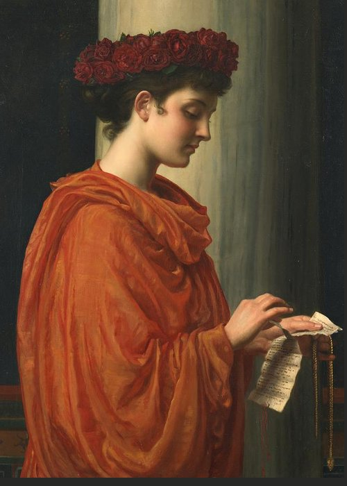 Female; Literature; Poetry; Character; Horace; Odes; Barine; Beauty; Note; Letter; Tearing; Ripping; Profile; Portrait Greeting Card featuring the painting Barine by Sir Edward John Poynter