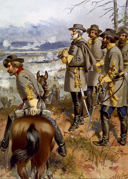 Military Greeting Card featuring the painting Battle Of Fredericksburg by American School