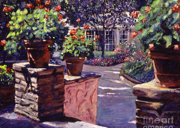 Gardens Greeting Card featuring the painting Bel-air Gardens by David Lloyd Glover