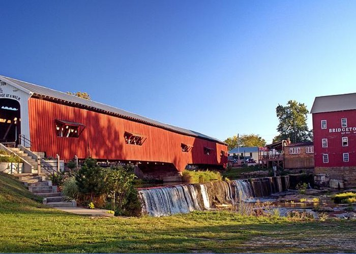 Landscape Greeting Card featuring the photograph Bridgeton Covered Bridge 2 by Marty Koch