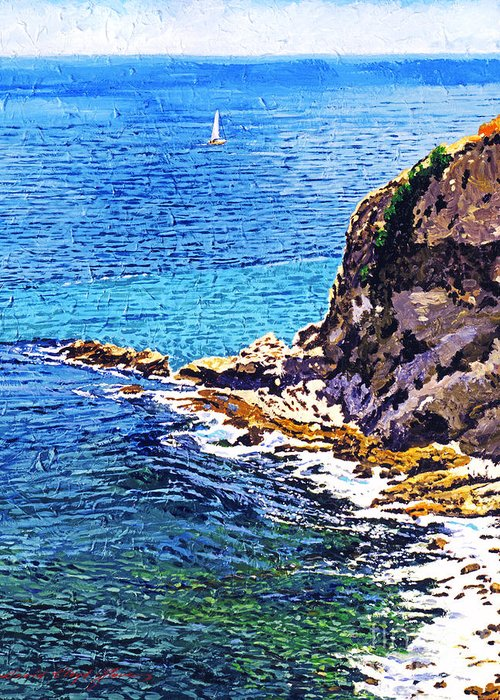 Seascape Greeting Card featuring the painting California Coastline by David Lloyd Glover