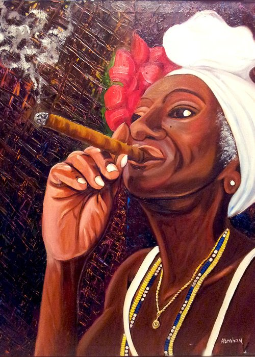 Cuban Art Greeting Card featuring the painting  Cigar Lady by Jose Manuel Abraham