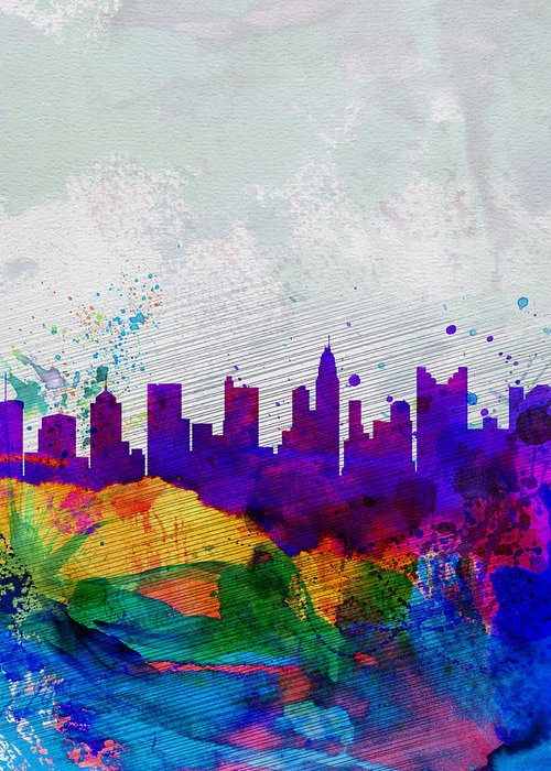 Columbus Greeting Card featuring the painting Columbus Watercolor Skyline by Naxart Studio