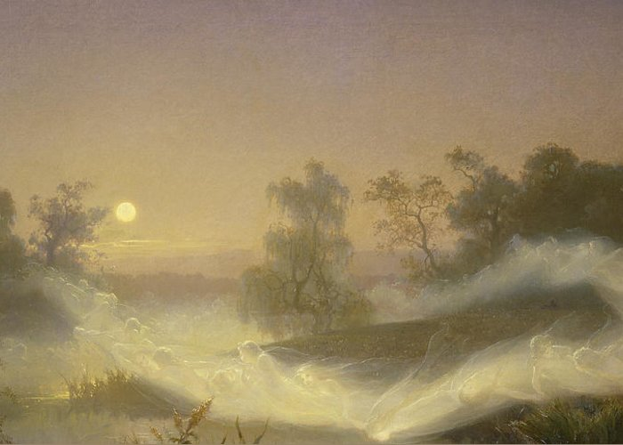 Spirit Greeting Card featuring the painting Dancing Fairies by August Malmstrom