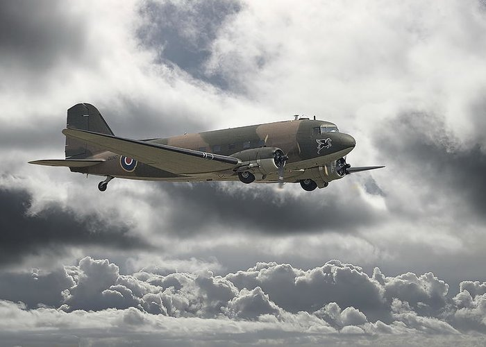 Aircraft Greeting Card featuring the digital art  Dc3 Dakota  Workhorse by Pat Speirs